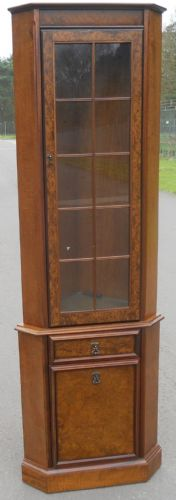 Walnut Standing Double Corner Cupboard